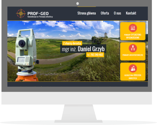 Strona firmy geodezyjnej PROF-GEO