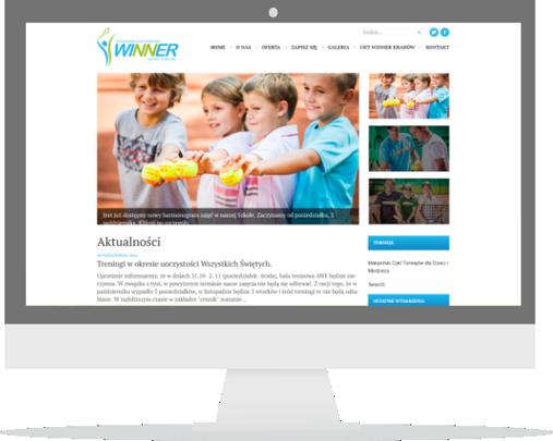 Strona internetowa szkoły tenisowej Winner